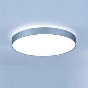 led platte ronde plafondlamp, gebogen alu rand met opaal of microprisma plaat voor direct licht, indirecte ring van licht