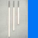 3 verschillende lengten Tisina 50, verticaal afgehangen Opalen Led lichtbuis met alu einddoppen