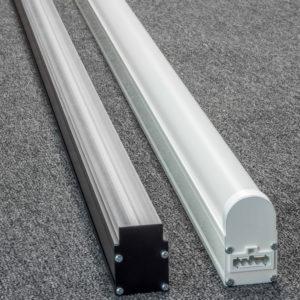 Non-Stop werkbankverlichting Doorlopende Led lichtlijn met lens/opaalkap voor hoge lichtniveaus. Dimbaar.
