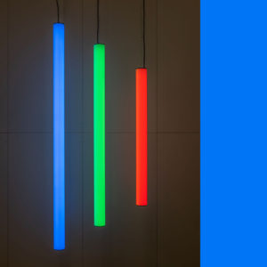 Hanglamp 100 mm, buisverlichting, tube-lighting, rohrleuchte, in RGB-kleuren, diverse lengten, theater